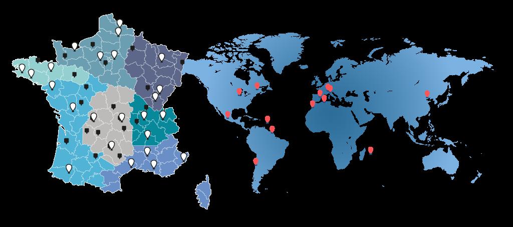Carte implantation agences et filiales Clauger