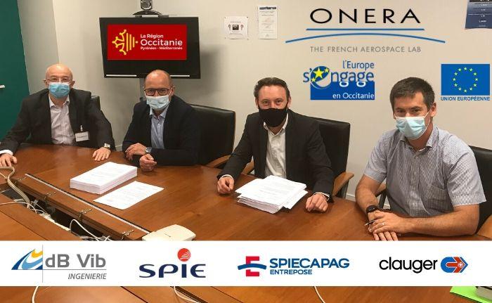 Le GME constitué de dB Vib Ingénierie, SPIE Industrie & Tertiaire - division Tertiaire, SPIECAPAG REGIONS FRANCE et CLAUGER dans le cadre de la signature officielle du marché public à l'ONERA.